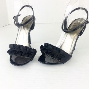 Beautiful black Ruffled toe strap heels